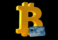 Bitcoin symbol with credit card