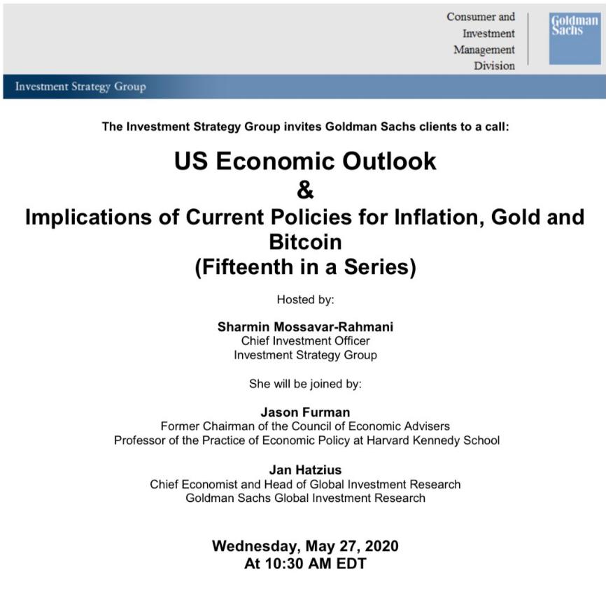 高盛举行电话会议:讨论通胀、黄金和比特币