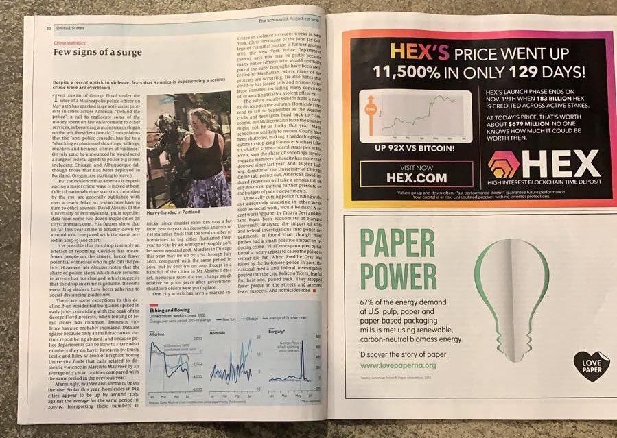 129天上涨11500%?《经济学人》为争议加密项目HEX刊登广告引不满